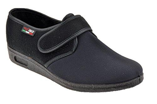 902 Nero Donna Scarpe Pantofole Velcro Gaviga Nuovo Uz6wH