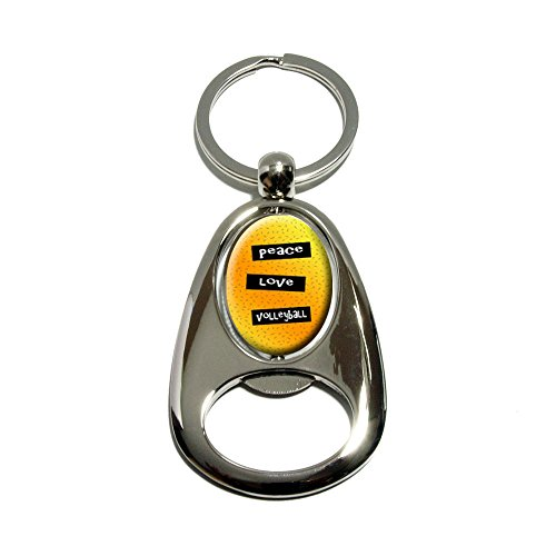 Peace Love Volleyball - Chrome Plated Metal Spinning Oval Design Bottle Opener Keychain Key Ring