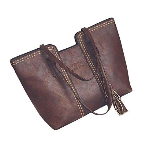 Shoulder Bags,TUDUZ Large Capacity Women's Leather Tassels Handbag Shoulder Messenger Bag Ladies Satchel Tote Bags Crossbody Bags Shoulder Bags Travel Bags Beach Bag Waist Bag Brown