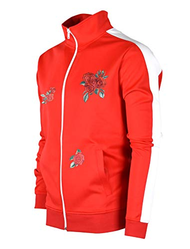 SCREENSHOTBRAND-F11853 Mens Urban Hip Hop Premium Track Jacket - Slim Fit Side Taping Rose Embroidery Fashion (Ribbed Tracksuit)