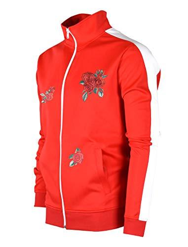 SCREENSHOTBRAND-F11853 Mens Urban Hip Hop Premium Track Jacket - Slim Fit Side Taping Rose Embroidery Fashion Top-Red-Medium from SCREENSHOT