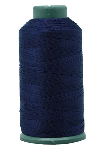 Mandala Crafts Bonded Nylon Thread for Sewing Leather, Upholstery, Jeans and Weaving Hair; Heavy-Duty; 1500 Yards Size 69 T70 (Navy Blue)