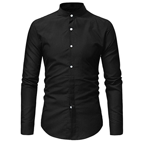 AmyDong Men Casual Shirt Long Sleeve Business Slim Dress Shirt T Shirt Top Two Pairs of Personalized Double-Shirt (XL, Black A) by AmyDong