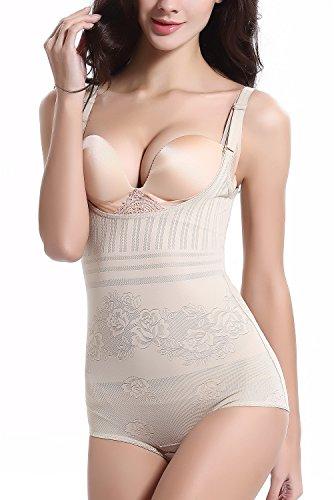 QingLemon Womens Shapewear Seamless Body Briefer Bodysuit Slimming Tummy Control Bodyshaper for Women