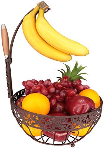 RosyLine Fruit basket, household fruit bowl, decorative display rack, multi purpose storage basket, home decoration (Bronze color) (Hanging Baskets Copper)