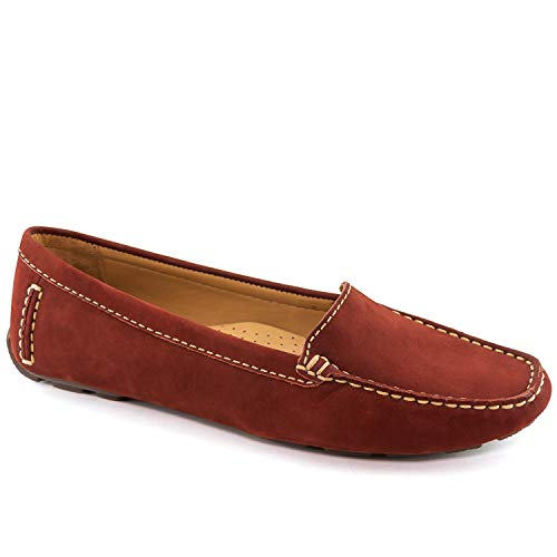 Womens Genuine Leather Made in Brazil Hampton Walnut Nobuck Loafer 8.5