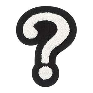 "4"" Heat Seal Chenille Varsity Question Mark ? - White on Black"
