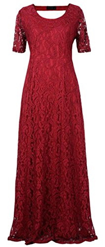 Lace Neck Sleeve Claret Elegant Cromoncent Short Hollow Backless Womens Maxi Scoop Dress ZtZPwq80