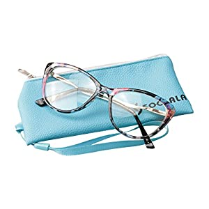 SOOLALA Womens 55mm Lens Cat Eye Reading Glass with Rhinestones Alloy Arms, Floral, +0.5