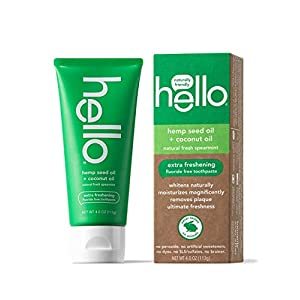 Hello Vegan Fluoride Free Toothpaste, Super Fresh Spearmint, Naturally Whitening Toothpaste, Hemp Seed Oil + Coconut Oil…
