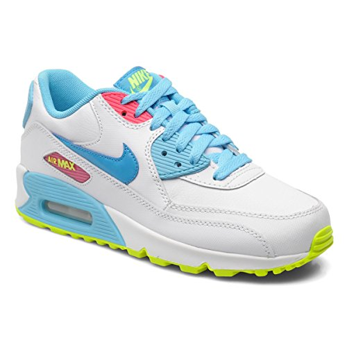Nike Kid's Air Max 90 2007 GS, WHITE/BLUE LAGOON-VOLT-CLEARW