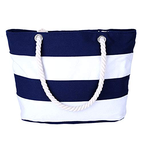 Pulama Womens Beach Tote Canvas Shoulder Bag Wave Striped Anchor Summer Handbag Top Handle Bag Straw Beach Bag Navy Blue Strip
