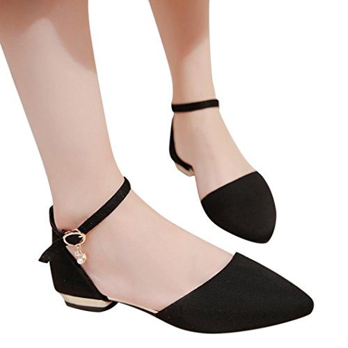 vermers Clearance Deals Women's Shoes Fashion Pointed Toe Casual Shoes Ladies Low Heel Flat Shoes(US:5, Black)