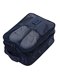 Travel Shoe Bags, Foldable Waterproof Shoe Pouches Organizer-Double Layer (Large Navy 1)
