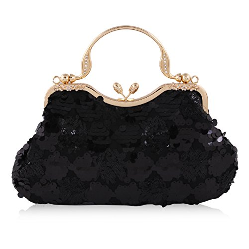 Mesh Metallic Evening Bag (Damara Women Sequins Mesh Overlay Kiss Lock Evening Handbags,Black)