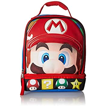 Super Mario Brothers Dual Compartment Soft Lunch Box, Blue Red Toy,  Multicolor, One Size 4e918fac1a
