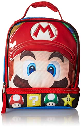 (Super Mario Brothers Dual Compartment Soft Lunch Box, Blue/Red Toy, Multicolor, One Size)
