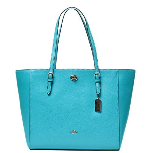 COACH Women's Crossgrain Turnlock Tote SV/Turquoise Tote
