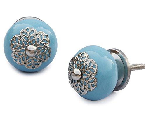 Nueva Idea de regalo bajo 10 - SouvNear azul Pastel Juego de 2 Interior agarraderas redondas y tiradores de caja...