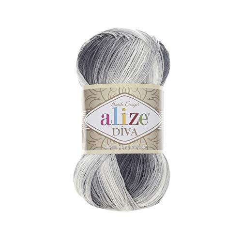 100% Microfiber Yarn Alize Diva Batik Silk Effect Thread Crochet Hand Knitting Turkish Yarn Art Lot of 4skn 400g 1532yd Color 1900