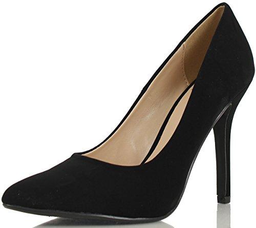(Delicious Women's Cindy Pointy Toe Velvet Single Sole Classic Pump,6.5 B(M) US,Black Nubuck)