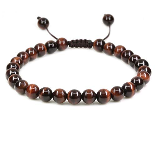 - Natural AA Red Tiger Eye Gemstone 6mm Round Beads Adjustable Bracelet 7