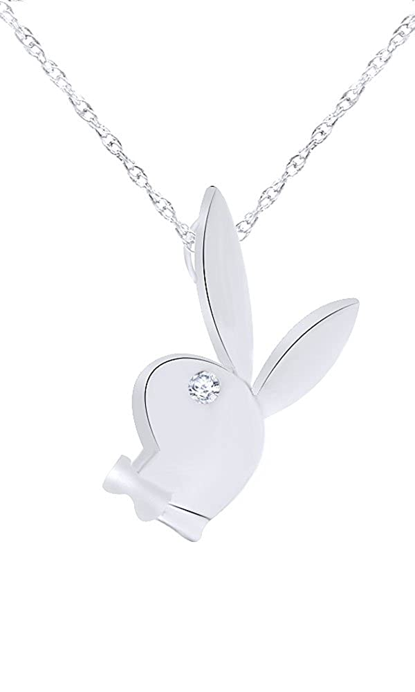 Wishrocks 14K Gold Over Sterling Silver White CZ Play Bunny Pendant Necklace WISH-49-WSL
