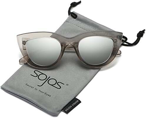 SojoS Retro Cat Eye Women Sunglasses 60's Fashion Thick Frame Mirror Lens SJ2939