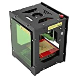 Walfront 1500mw Laser Engraver Printer Portable Household Art Craft DIY Mini Engraving Printing USB Wireless Bluetooth4.0 for iOS/Android/Windows PC with Alloy Shell Frame