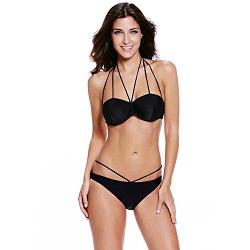 Erica Bikinis halter de playa de las mujeres de dos piezas Set Swimsuit Push Up High Rise Underwire acolchado Bra Black