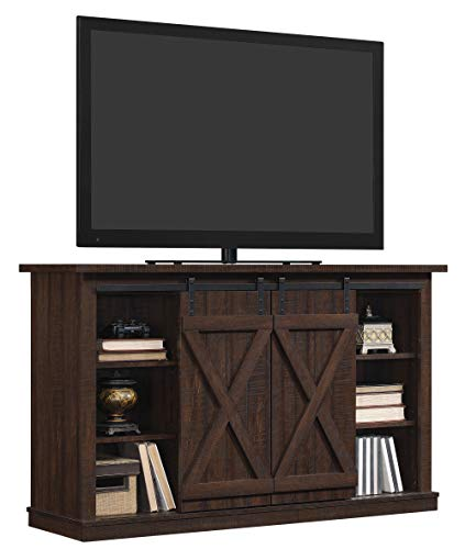 Pamari TC54-6127-PD01 Wrangler Sliding Barn Door TV Stand, Sawcut Espresso