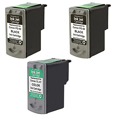 Amsahr PG40 Remanufactured Replacement Canon Ink Cartridges for Select Printers/Faxes - 2 Black/1 Color
