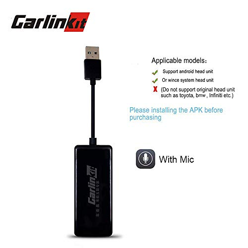 USB carplay dongle adapter android auto carplay receiver box for android head unit multimedia stereo support mirroring navigation (black with mic)