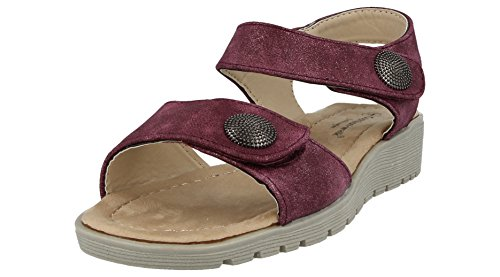 Cushion Walk Ladies Metallic Faux Leather Open Toe Double Strap Touch Close Summer Sandals Size 3-8 Plum J2my6