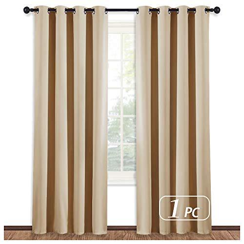 NICETOWN Room Darkening Biscotti Beige Curtain - Modern Design Light Reducing & Privacy Protection Short Window Drape/Drapery for Kid's Room, 52x84-Inch, 1 Piece