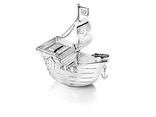 - Zilverstad 6179261 Piggy Bank Pirate Ship Design Tarnish-Resistant 13.5 x 6.5 x 15.5 cm Silver-Plated