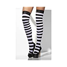 Fever Women's Opaque Hold-Ups and Striped with Handcuffs In Display Box
