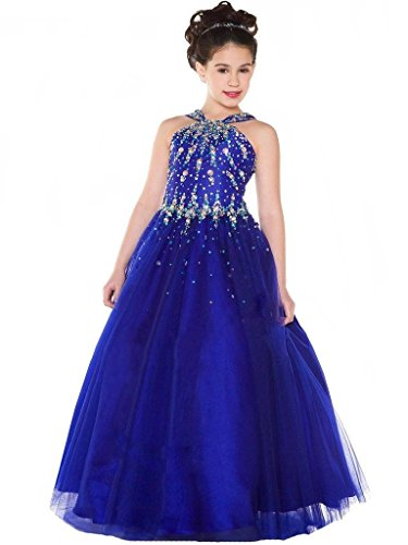 Aisha Girls' Halter Beads Ball Gown Girls Pageant Dress 8 US Blue by Aisha