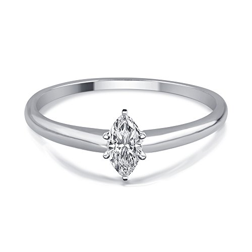 (1/4 Cttw Marquise Diamond Solitaire Ring in 14K White Gold)