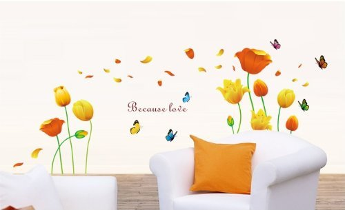 (Kappier Beautiful Large Long Stem Orange and Yellow Tulips with Elegance and Grace Peel & Stick Wall Decals)