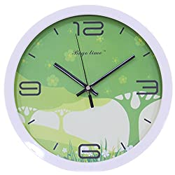 Decorative Modern Creative Round Wall Clock - 12 Tree and Grasslands/White Frame