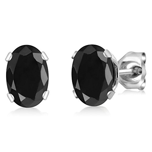 2.14 Ct Oval Black Sapphire 925 Sterling Silver 4-prong Stud Earrings For Women ()