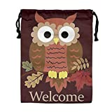 Custom Drawstring Bag,Welcome-Fall-Cute-Owl Holiday/Party/Christmas Tote Bag 15.7(H)x 11.8(W) in