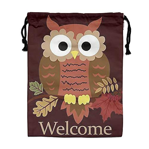 Custom Drawstring Bag,Welcome-Fall-Cute-Owl Holiday/Party/Christmas Tote Bag 15.7(H)x 11.8(W) in by DFGTLY