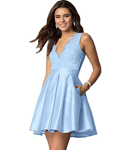 Gown Women's Yilis Evening Lace V Prom LightBlue Pockets Line Party Homecoming with Dress A Neck Short d7qwxAr71a