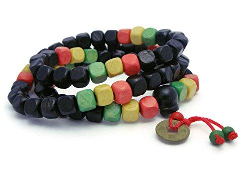 [APECTO 8mm Wood Beads Multicolor Bracelet Link Wrist Necklace Tibetan Buddhist Prayer Buddha Mala,] (J Valentine Unicorn Costume)