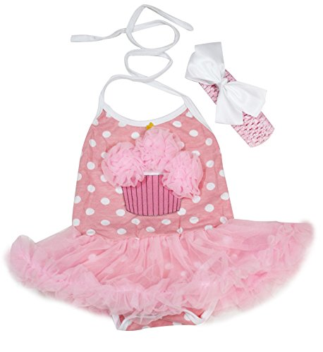 Birthday Dress Rose Cupcake Polka Dots Pink Halter Neck Bodysuit Tutu Set Nb-24m (6-12 Months)