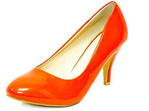 Ladies Womens Mid Heel Court Shoe / Office / Formal Shoes - Orange - UK Size 5 Ji6QaWIa2w