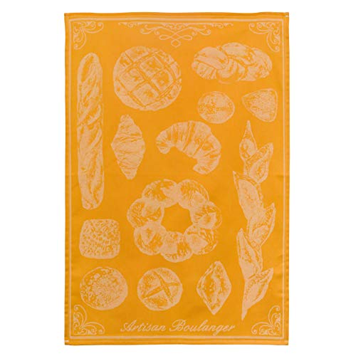 COUCKE French Cotton Jacquard Towel, Le Bon Pain (Bread), 20-Inches by 30-Inches, Orange
