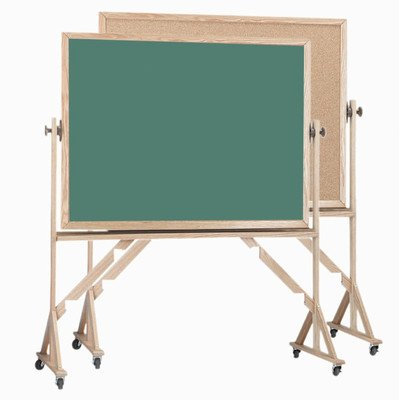 Reversible Free Standing Bulletin Board Surface Color Green, Size: 3' H x 4' W